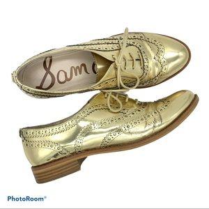 Sam Edelman Jerome Metallic Gold Oxford Shoes 8